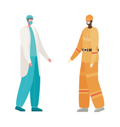 Isolated male doctor and constructer with masks vector