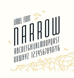 italic narrow sans serif font vector image
