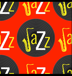Jazz concept vinyl record and word jazz letter j vector