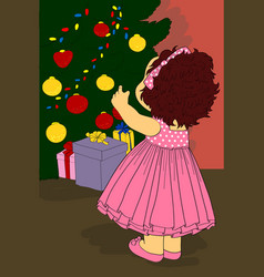 Little girl decorated christmas tree vector