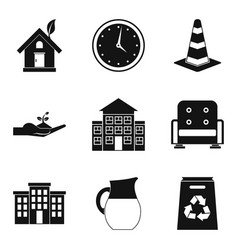 Manor icons set simple style vector