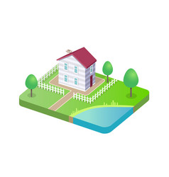 modern house 3d isolated cottage building vector image