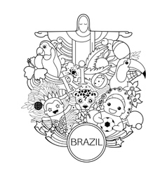 Monochrome brazil travel background for flyer vector
