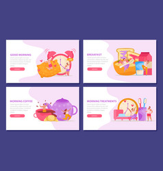 Morning people backgrounds set vector