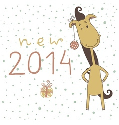 New Year Card with Cartoon Horse vector