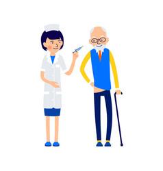 nurse is preparing to make an elderly patient vector image