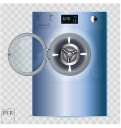 Open double washing machine with small load box vector