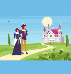 prince and happy princess walk road to royal vector image