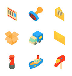 Prompt delivery icons set isometric style vector