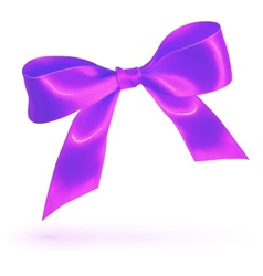 Purple glossy silk bow isolated on white vector