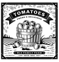 retro tomato harvest label with landscape vector image