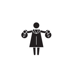 rich woman getting money black concept icon vector image