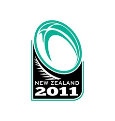 rugby ball fern new zealand 2011 vector image