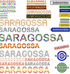 Saragossa text design set vector