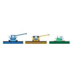 Set agricultural machinery machines vector