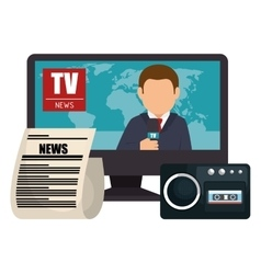 set news tv microphone paper graphic isolated vector image