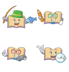 Set of open book character with fishing student vector