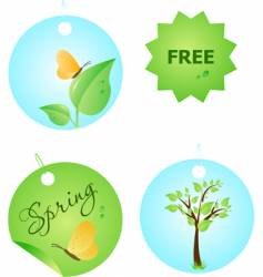 set of spring labels vector image