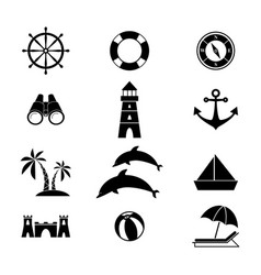 set of summer holiday icon vector image