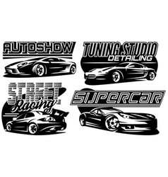 set sports car templates for stylish badge vector image