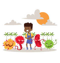 Sick ill child with microbes banner vector