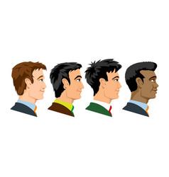 Side view four kind races men vector
