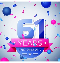 Sixty one years anniversary celebration on grey vector image