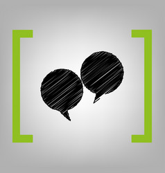 speech bubble sign black scribble icon in vector image