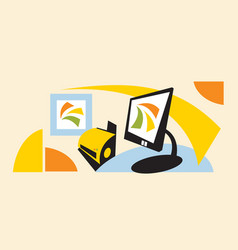 stylized image a modern workspace vector image