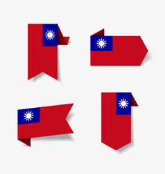 taiwan flag stickers and labels vector image