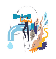Tap and plumber in overalls on ladder isolated vector