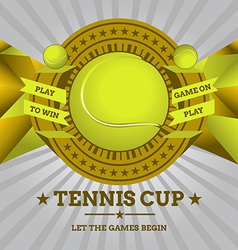 Tennis emblem with geometric background vector