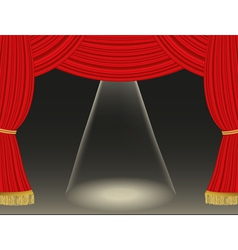 Theater curtains background with spotlight vector image