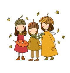 three small forest fairies cartoon elves autumn vector image
