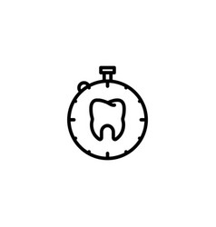 time care tooth wait dental icon in black outline vector image