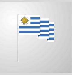 Uruguay waving flag creative background vector