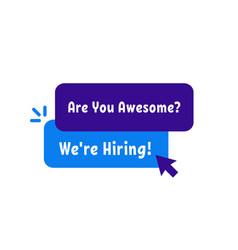 we re hiring simple badge vector image