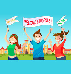Welcome new students to university vector