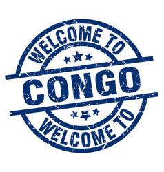 Welcome to congo blue stamp vector