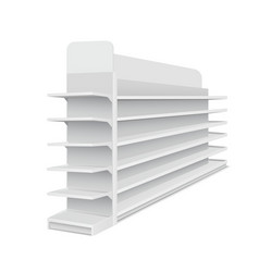 white empty long showcase with shelves for vector image