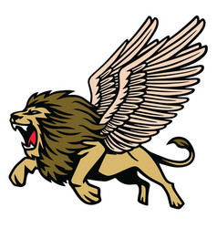 winged lion heraldic flying vector image