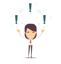 Woman with a exclamation mark vector
