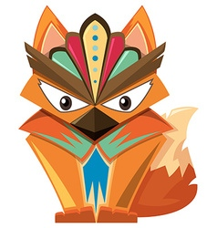 Wooden craft shape of fox vector image