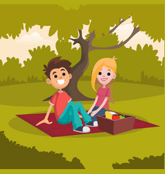 young happy couple sitting on picnic blanket in vector image