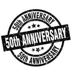 50th anniversary round grunge black stamp vector