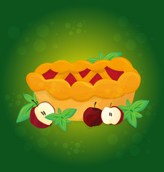 apple pie and apples - cartoon vector image