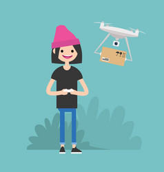 drone delivery service young female character vector image vector image