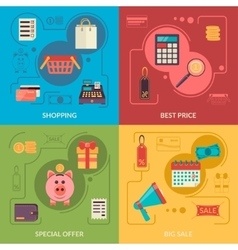 Four square composition banners with shopping vector