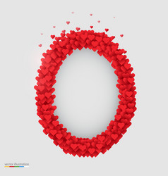 oval photo frame made of many hearts vector image