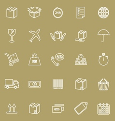 Shipping line icons on brown background vector image vector image
